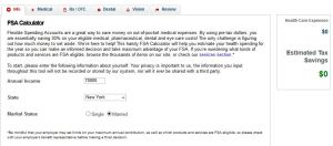 FSA calculator savings example step 2